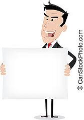 homem negócios, branca, mensagem, segurando, anunciando