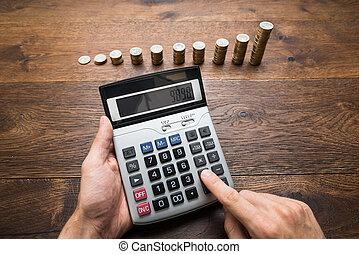 homem negócios, cálculos