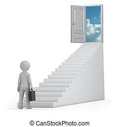 homem negócios, céu, porta