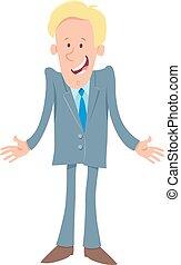 homem negócios, cômico, personagem, caricatura