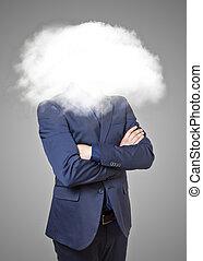 homem negócios, cabeça, nuvens