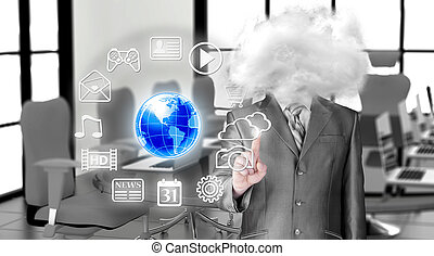 homem negócios, cabeça, nuvens, jovem