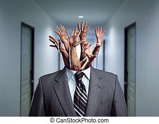 homem negócios, cabeça, sem