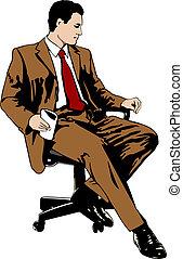 homem negócios, cadeira, escritório, sentando
