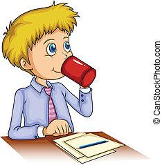 homem negócios, café bebendo