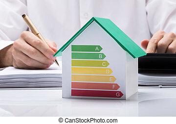 homem negócios, calculando, energia, eficiente, casa