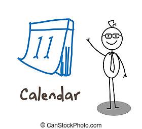 homem negócios, calendário