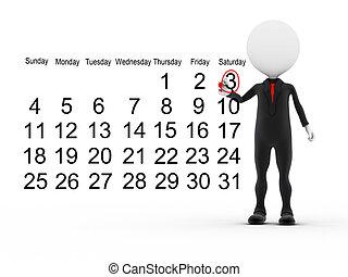 homem negócios, calendário, programa ocupado, 3d