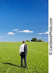 homem negócios, campo verde