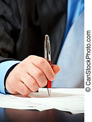 homem negócios, caneta, contrato assinando