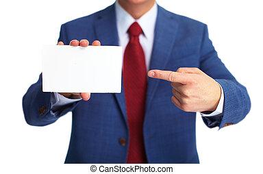homem negócios, card., negócio