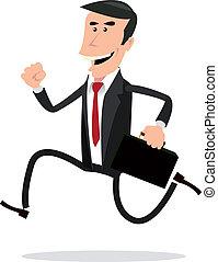 homem negócios, caricatura, apressado