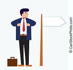 homem negócios, caricatura, com, bandeira, engraçado, desenho