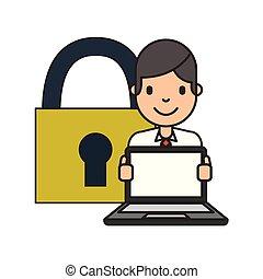 homem negócios, caricatura, com, laptop
