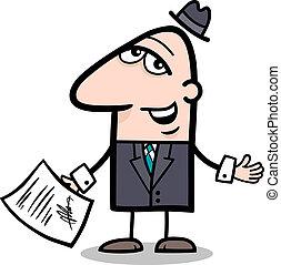 homem negócios, caricatura, contrato