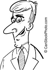homem negócios, caricatura, esboço