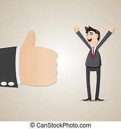 homem negócios, caricatura, feliz, polegar cima