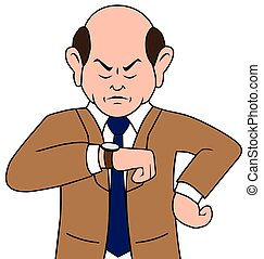 homem negócios, caricatura, irritada