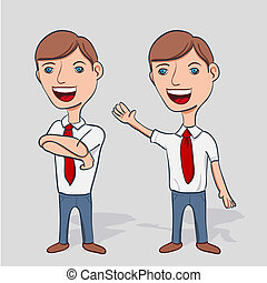 homem negócios, caricatura, personagem