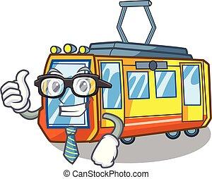 homem negócios, caricatura, trem, elétrico, isolado