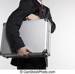 homem negócios, carregar, pasta