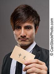 homem negócios, cartão