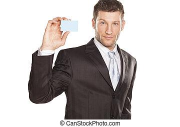 homem negócios, cartão, crédito