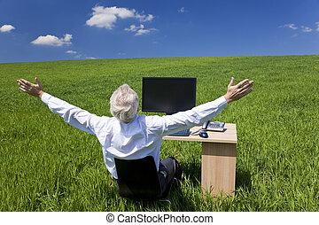 homem negócios, celebrando, braços levantaram, escrivaninha, em, campo verde