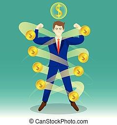 homem negócios, cercado, por, moedas