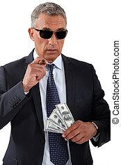 homem negócios, charuto, dinheiro