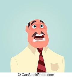 homem negócios, chocado, ou, surpreendido, com, largo aberto, boca