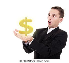 homem negócios, chooses, dourado, dólar eua, sinal