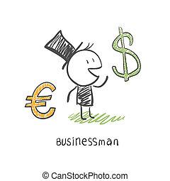 homem negócios, chooses, entre, dois, moedas correntes,...