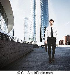 homem negócios, cidade