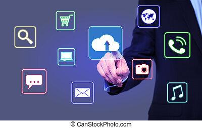 homem negócios, cliques, nuvem, ícone, ligado, a, virtual, tela