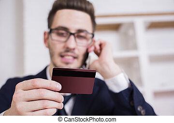 homem negócios, colocar, ordem, por, telefone