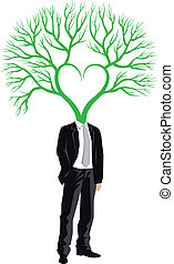 homem negócios, com, árvore, cabeça, vetorial