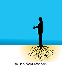 homem negócios, com, árvore, raizes