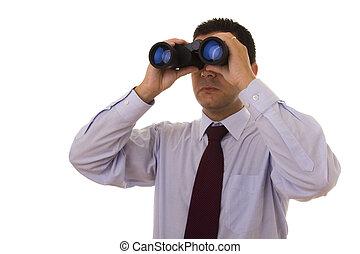 homem negócios, com, binocular