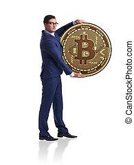 homem negócios, com, bitcoin, isolado, branco, fundo