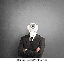 homem negócios, com, câmera segurança