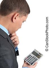 homem negócios, com, calculadora