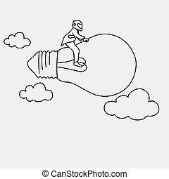 homem negócios, com, capacete, montando, ligado, voando, lâmpada, vetorial, ilustração, doodle, esboço, mão, desenhado, com, pretas, linhas, isolado, ligado, cinzento, experiência., criatividade, negócio, concept., editable, artwork.