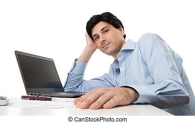 homem negócios, com, computador laptop