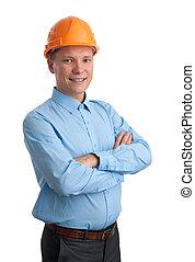 homem negócios, com, construção, helmet., isolado, branco