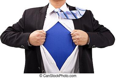 homem negócios, com, coragem, e, super-homem, conceito
