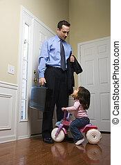 homem negócios, com, daughter.