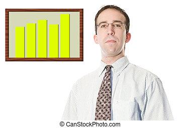 homem negócios, com, gráfico financeiro