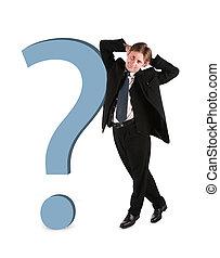 homem negócios, com, grande, pergunta, isolado, branco,...