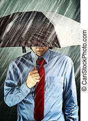 homem negócios, com, guarda-chuva, em, tempestade